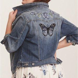 Torrid Butterfly Embroidered Denim Jean Jacket